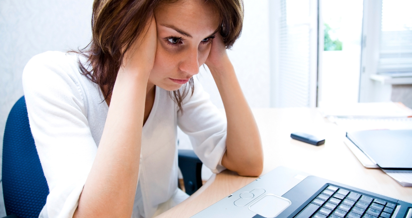 frustrated woman who cant get finance
